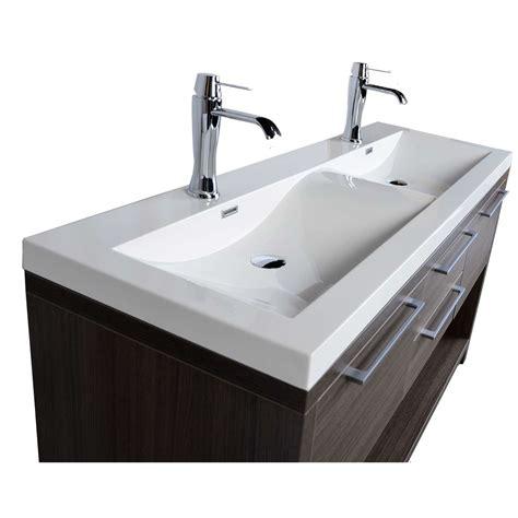 modern double sink vanity 57 quot contemporary double vanity set with wavy sink grey oak