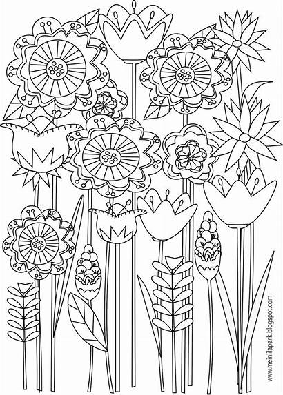 Coloring Pages Flower Printable Flowers Adult Floral