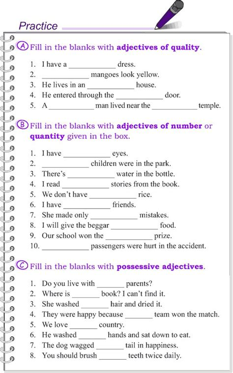 grade  grammar lesson  kinds  adjectives