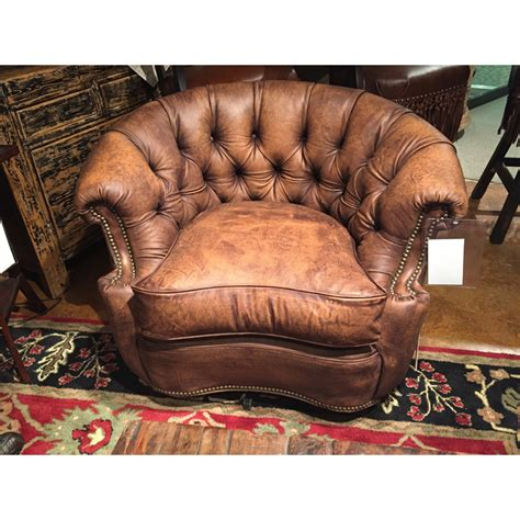 leather tub swivel chair    hickory tannery sale