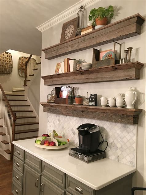 Shop Home Bars by Floating Barnwood Shelves Coffee Bar Area A Great