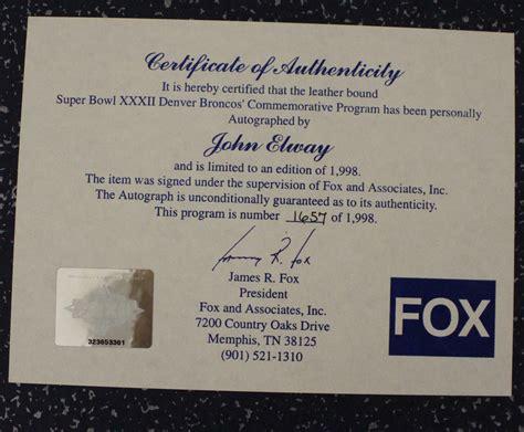 John Elway Signed Super Bowl Xxxii Champions Commemorative