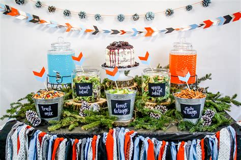 woodland themed baby shower food table party decorations