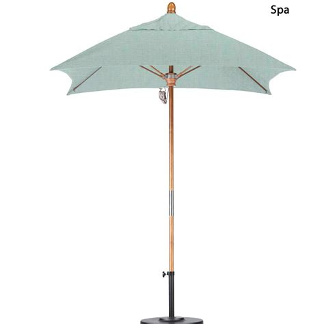 6 ft wood market umbrella sunbrella fabric dfohome