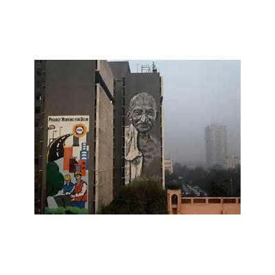 Delhi: Huge mural of Mahatma Gandhi unveiled on Police