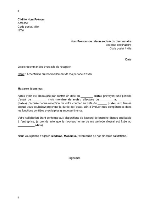 periode d essai cadre cdi lettre d acceptation par le salari 233 du renouvellement de sa p 233 riode d essai mod 232 le de lettre