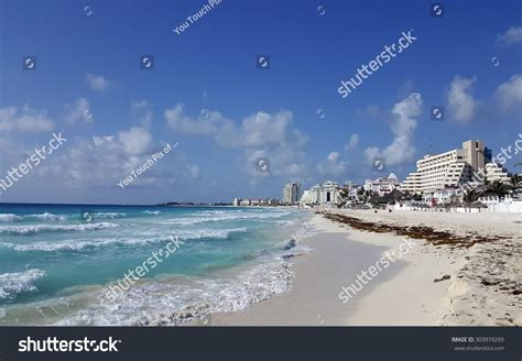 Crowded Hotel Zone Along Caribbean Sea Stock Photo