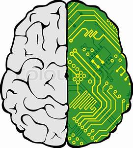 Brain With Motherboard As A Computer Concept