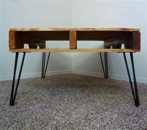 diy desk with hairpin legs diy one coffee table with 3 rod hairpin legs pallet
