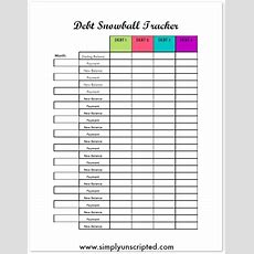 Free Debt Snowball Printable Worksheet Track Your Debt Payoff