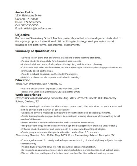 Elementary School Resume by Elementary Resume Template 7 Free Word Pdf Document Downloads Free Premium Templates