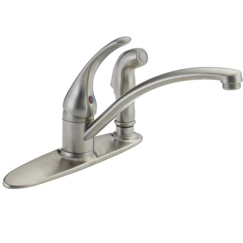 kitchen faucets single delta collins single handle standard kitchen faucet with side sprayer in stainless 440 ss dst