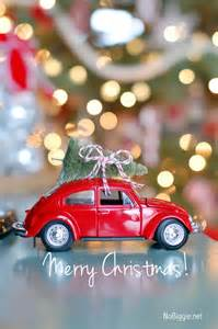 VW Beetle with Red Christmas Tree