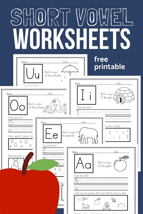 short vowel worksheets sample pack  cvc phonics