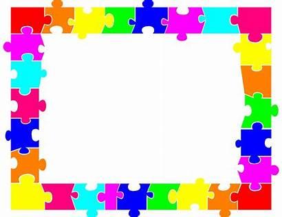 Puzzle Border Jigsaw Clipart Pieces Printable Piece