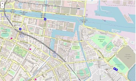 Leaflet map example featuring spots in James Joyce's