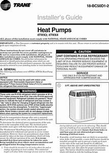 Trane Air Conditioner  Heat Pump Outside Unit  Manual L0905021