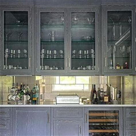 Wire Brushed Oak Cabinets by Living Room Bar With Gray Cabinets And Glass Front Wine