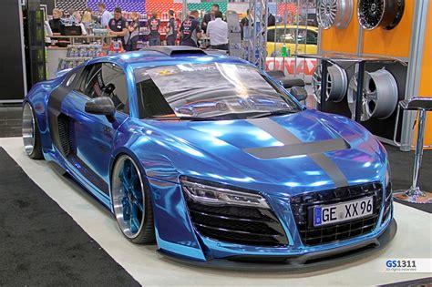 audi r8 chrome blue widebody kit audi r8 wrapp chrome blue tuning wallpaper