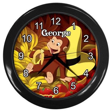 curious george monkey kids bed play room wall clock