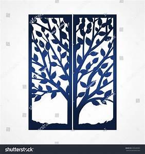Two Fold Wedding Invitation Template Tree Stock Vector