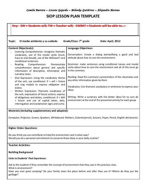 siop unit lesson plan template sei model once a