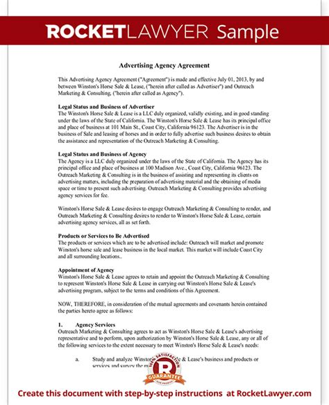 Advertising Contracts Templates by Advertising Agency Agreement Contract Sle Template