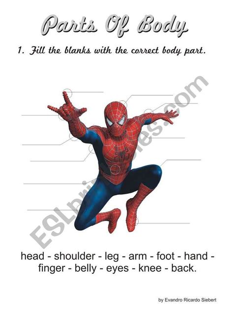 spider man worksheet english lessons  kids
