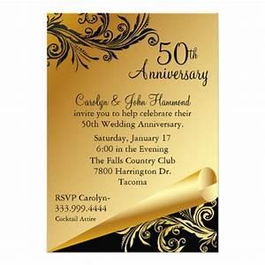 Black gold 50th wedding anniversary invitation 5quot x 7 for 50th wedding anniversary invitations