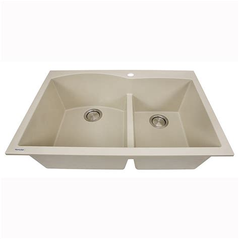 kitchen sink with cabinet plymouth collection 60 40 bowl dual mount granite 6040