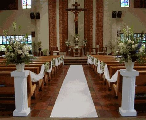 White Columns And Aisle Runner For The Church Or Venue