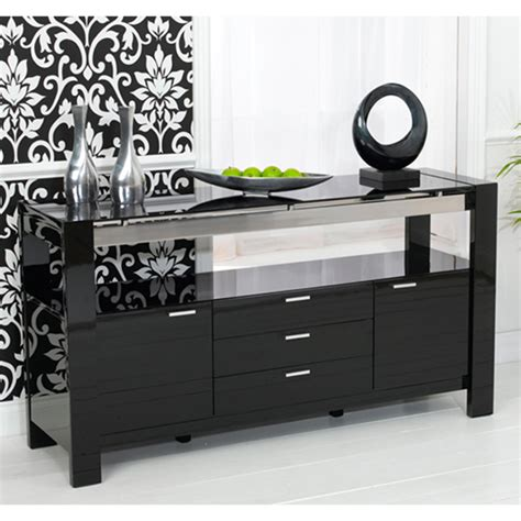 Glass Sideboards For Dining Room by Lexus High Gloss Black Glass Sideboard 13181 Furniture In