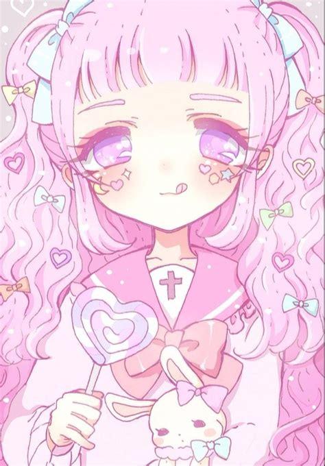 Anime Wallpaper Pastel - anime pastel pink hair ribbons lollipop