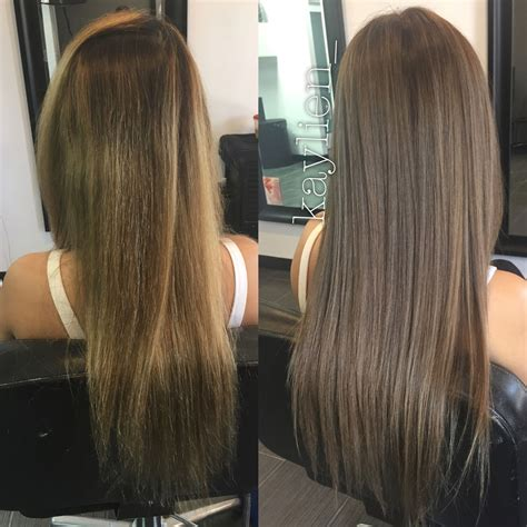 Light Brown Hair Tones by From Uneven Brassy Color To Light Smokey Ash Brown No