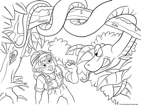 print  jungle snake  boy coloring pages