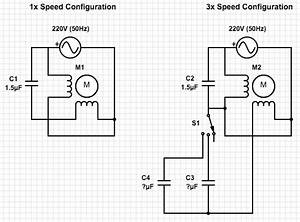 Ac - Calculating The Capacitor Values To Control Ceiling Fan Speed