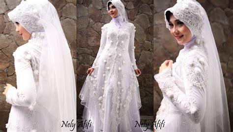gaun pengantin muslimah kebaya modern brocade putih