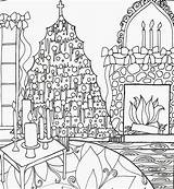 Coloring Christmas Adult Fireplace Tree Cozy Pages Winter sketch template