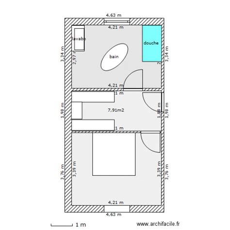 salle de bain dressing chambre plan 3 pièces 35 m2