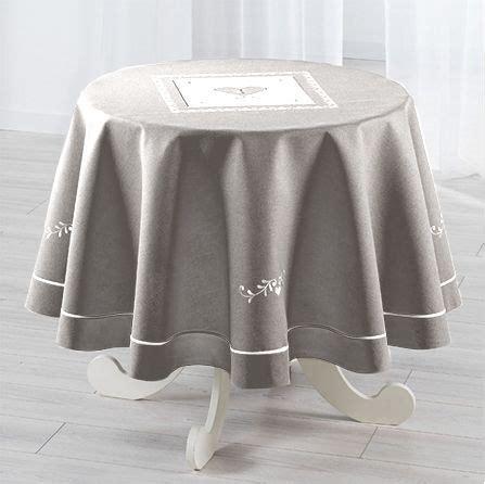 nappe ronde  cm amandine brode gris linge de table eminza