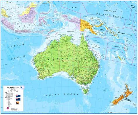 wandkaart australasia australie nieuw zeeland en deel