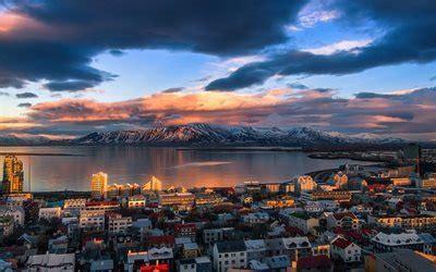 wallpapers reykjavik fjord mountains sunset