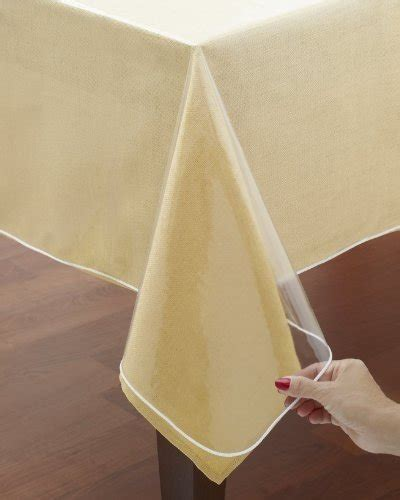 cut to size table protector clear vinyl tablecloth protectors hemmed border protects