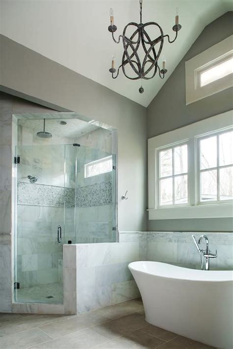 Corner Shower with Marble Tiled Ceiling   Cottage   Bathroom