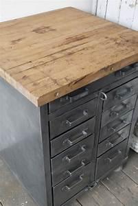 Etabli D Atelier : etabli d 39 atelier industriel metal 11 tiroirs plateau bois ~ Edinachiropracticcenter.com Idées de Décoration