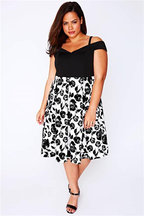 bardot flower dress black white floral print bardot dress plus size 14 to 32