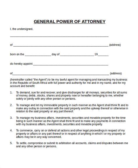 power  attorney templates  sample