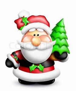 Cartoon Santa with Christmas Tree | Stock Photo | Colourbox
