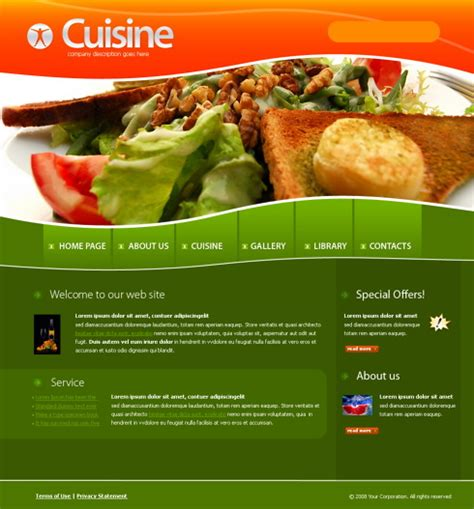 cuisine site 4218 food restaurant website templates dreamtemplate