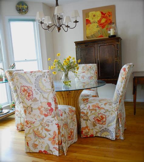 slipcovers  parsons chairs pink polka dot